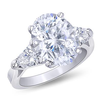 2.2 Ct. Oval Trillion Diamonds Ring White Gold Jewelry Three Stone Three Stone Ring