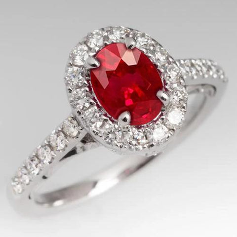 4.5 Ct Oval Cut Ruby And Diamond Ring White Gold Lady Men Jewelry Gemstone Ring