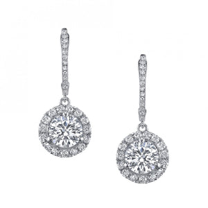 4.50 Carats Natural Diamonds Ladies Dangle Earrings White Gold 14K Dangle Earrings