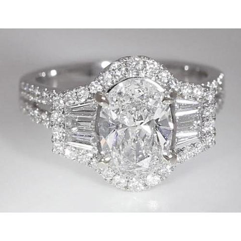 4.50 Carats Oval Cut Diamond Three Stone Anniversary Ring Split Shank Vs1 F Engagement Ring Set
