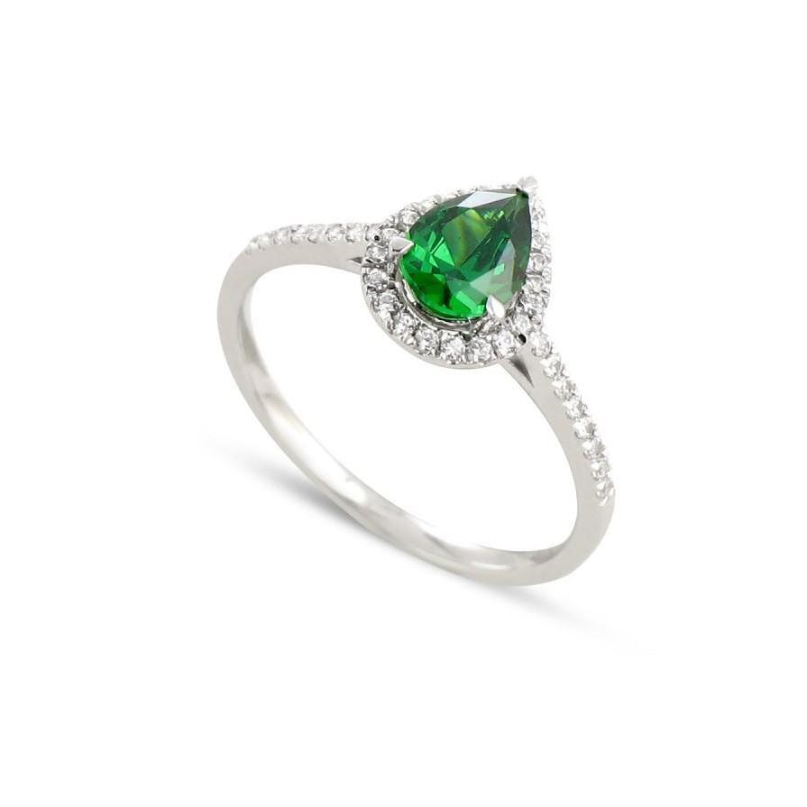 4.50 Carats Prong Set Green Emerald With Diamonds Ring White Gold 14K Gemstone Ring