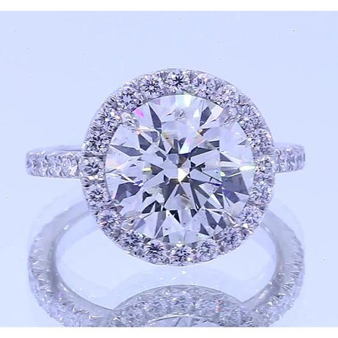 4.50 Carats Round Diamond Anniversary Ring Halo Setting Halo Ring