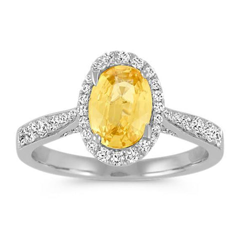 4.50 Ct Oval Yellow Sapphire And Round Diamonds Ring White Gold 14K Gemstone Ring