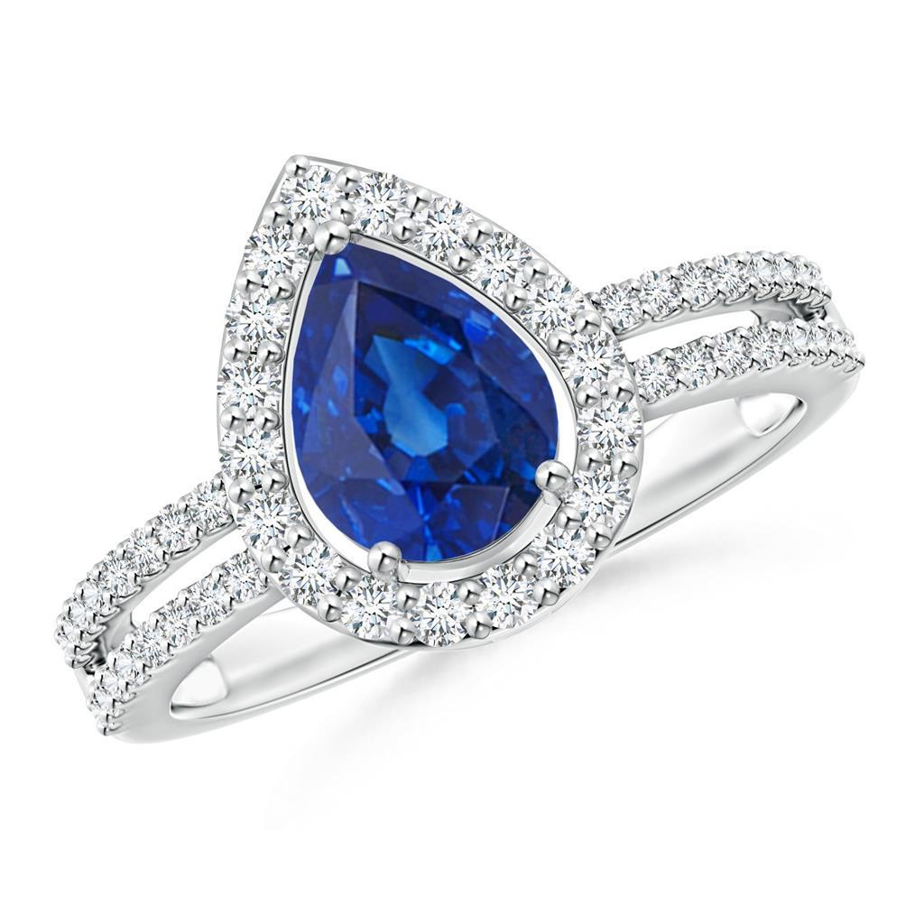 4.50 Ct Pear And Round Cut Sapphire Diamonds Wedding Ring White Gold Gemstone Ring