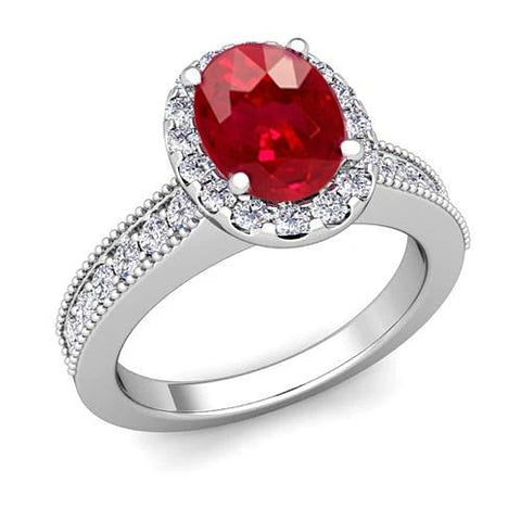 4.60 Carats Red Ruby With Diamonds Ring 14K White Gold Gemstone Ring