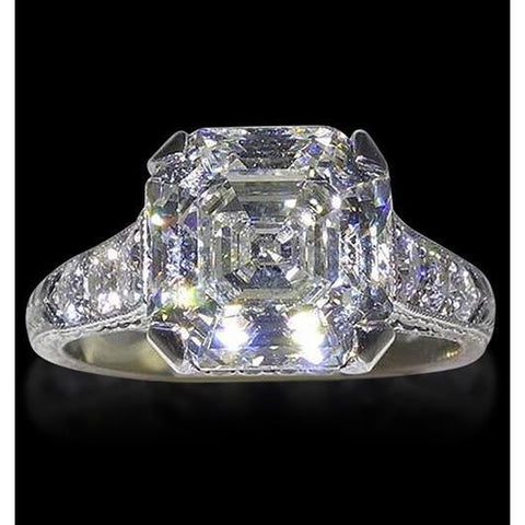 4.65 Carats Asscher Diamond Solitaire With Accents Ring Gold Solitaire Ring with Accents