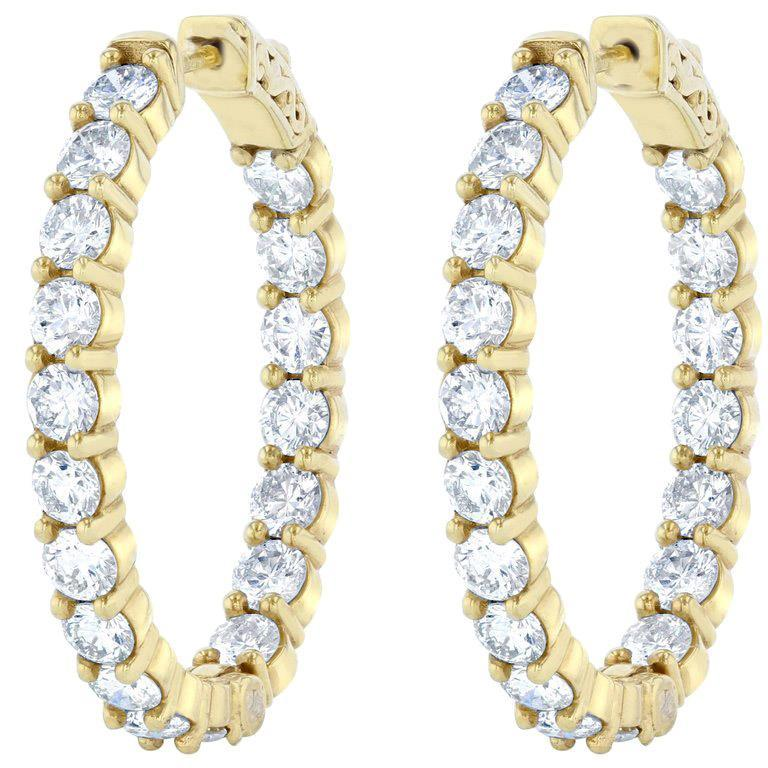 4.68 Carats Out In Sparkling Diamonds Hoop Earrings Gold Yellow 14K Hoop Earrings