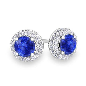 4.70 Carats Prong Set Ceylon Sapphire With Diamonds Studs Earrings Gemstone Earring
