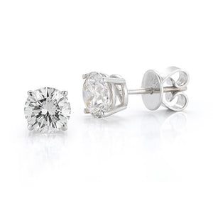 4.70 Carats Sparkling Prong Set Diamonds Studs Earrings White Gold Stud Earrings