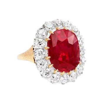 4.70 Ct Cushion Ruby With Diamonds Ring Yellow Gold 14K Gemstone Ring