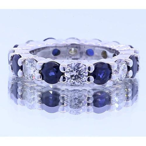 4.80 Carats Round Eternity Band Womens Jewelry Blue Sapphire White Gold 14K Eternity Band
