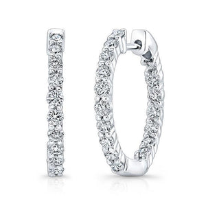 4.80 Carats Sparkling Brilliant Diamonds Hoop Earrings White Gold Hoop Earrings