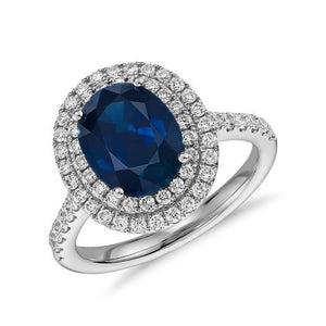 4.90 Ct Oval And Round Cut Sapphire And Diamonds Wedding Ring Gold Gemstone Ring