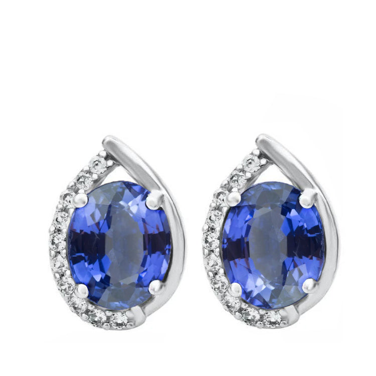 Oval Cut Ceylon Sapphire & Halo Diamond Stud Earrings 4.0 Carat WG 14K