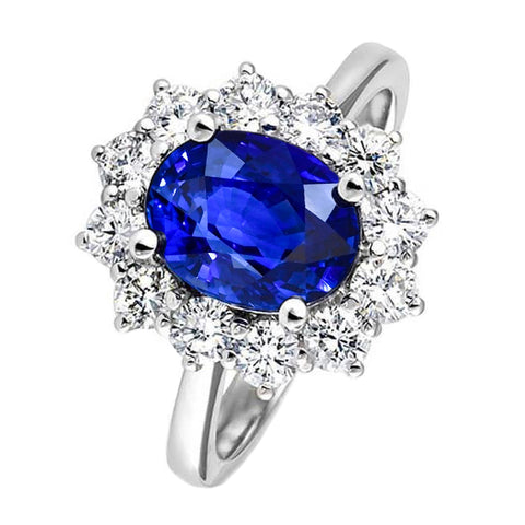 4 Carats Oval Sapphire With Round Diamonds Ring 14K White Gold