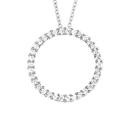 4 Carats Round Diamond White Gold 14K Necklace Pendant