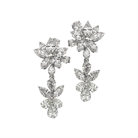 5 Carat Diamonds Floral Style Earring Chandelier White Gold Hanging Earrings Chandelier Earring