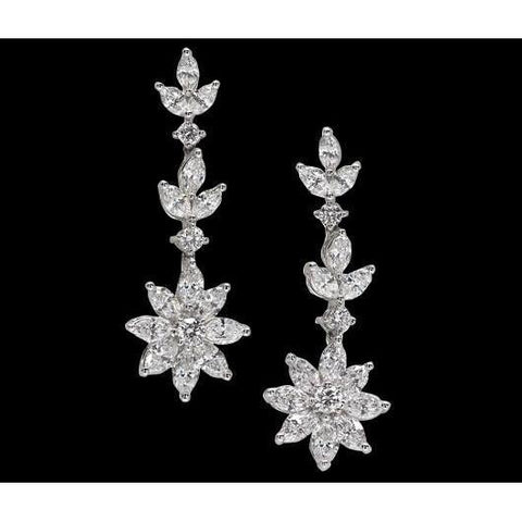 5 Carat Diamonds Long Earring Chandelier Floral Style Diamond Jewelry Earrings Chandelier Earring