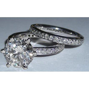 5 Carats Diamond Engagement Ring Set Solitaire Ring And Band Set Engagement Ring Set