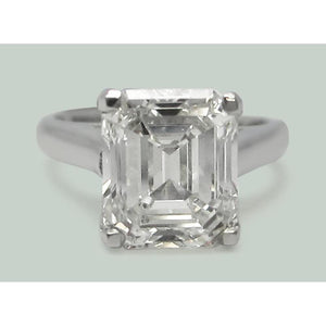 5 Carats Emerald Diamond Solitaire Ring White Gold Solitaire Ring