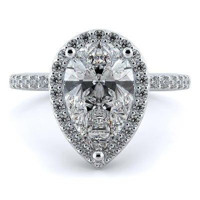 5 Carats Pear Cut Diamond Wedding Halo Ring White Gold Lady Men Jewelry Halo Ring