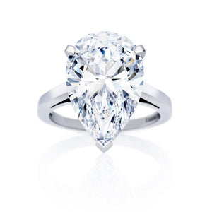 5 Carats Pear Cut Solitaire Diamond Ring White Gold Fine Jewelry Solitaire Ring