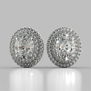 5 Carats Prong Set Oval Double Halo Diamond Stud Earring White Gold Halo Stud Earrings