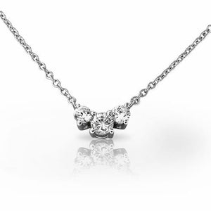 5 Carats Round Cut Diamond Three Stone Necklace White Gold 14K Necklace