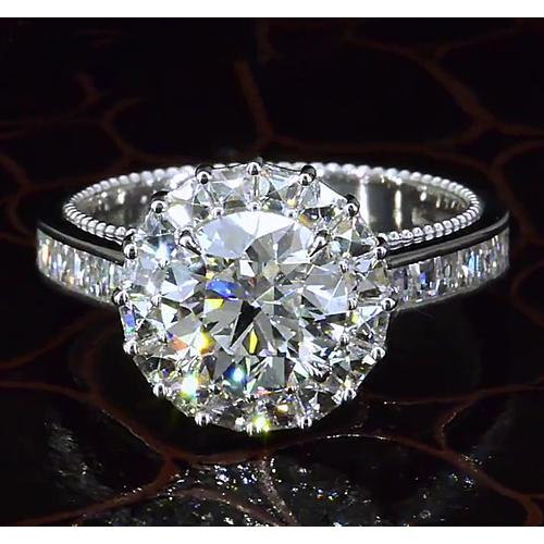 5 Carats Round Halo Setting Anniversary Ring Fancy Style White Gold 14K Halo Ring