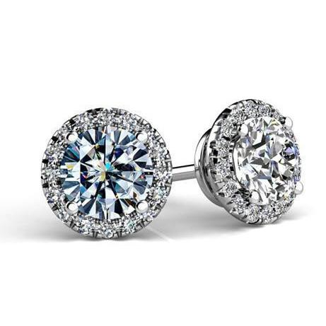 5 Carats Round Shaped Halo Diamond Women Stud Earring Halo Stud Earrings