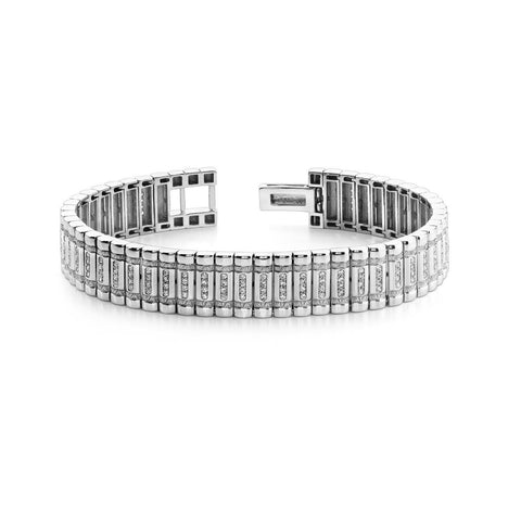 5 Carats Small Round Cut Diamonds Column Mens Bracelet White Gold 14K Tennis Bracelet