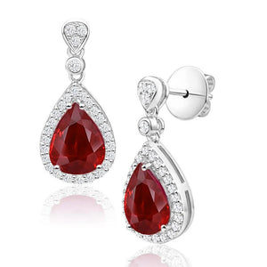 5 Ct Pear Cut Red Ruby And Diamond Drop Dangle Earring White Gold Gemstone Earring