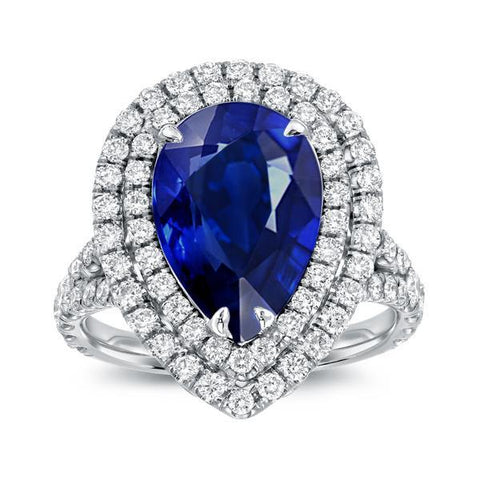 5 Ct Pear Sapphire With Round Diamonds Ring White Gold 14K Gemstone Ring