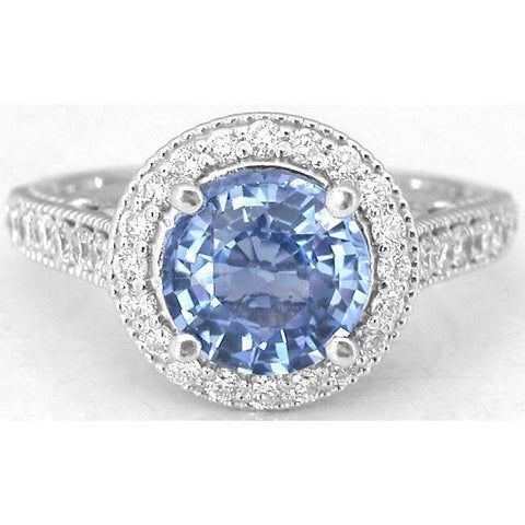 5 Ct Round Cut Ceylon Sapphire Diamond Lady Men Ring White Gold 14K Gemstone Ring