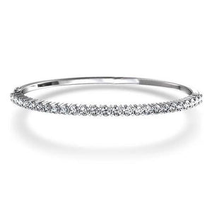 5 Ct Round Prong Set Diamond Bangle Bracelet 14K White Gold Bangle