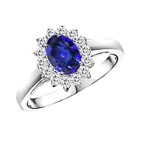 5.30 Carat Tanzanite Oval Diamonds Ring White Gold 14K New