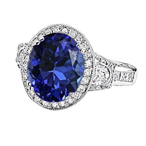 5.33 Carat Oval Tanzanite Diamonds Ring Gold White 14K
