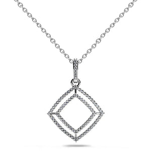 5.50 Ct Round Cut Diamonds Shadow Box Pendant Necklace White Gold 14K