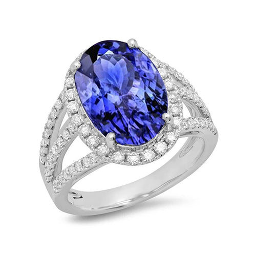 5.81 Carats Oval Tanzanite & Round Diamond Fancy Ring White Gold 14K