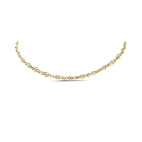 5.00 Carats Round Cut Diamonds Bezel Style Necklace 14K Gold Yellow Necklace