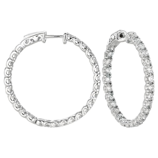 5.04 Carat Round Diamond 10 Pointer Hoop Pair Earring Solid Gold 14K Hoop Earrings