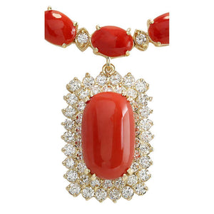 50.50 Ct Red Coral And Diamonds Lady Necklace Gold Yellow 14K Gemstone Necklace