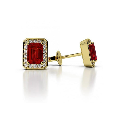 5.10 Ct Prong Set Emerald Cut Ruby With Diamonds Studs Halo Gold Yellow Studs- Halo