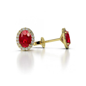 5.20 Carats Oval Cut Ruby With Round Diamonds Studs Halo Gold Yellow 14K Studs- Halo