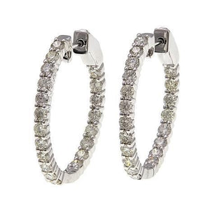 5.20 Ct Sparkling Diamonds Women Hoop Earrings 14K White Gold Hoop Earrings