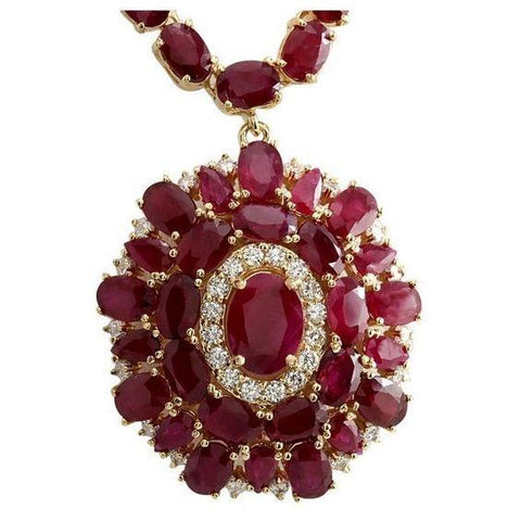 52.75 Carats Ruby And Diamonds Women Necklace Gold Yellow 14K Gemstone Necklace