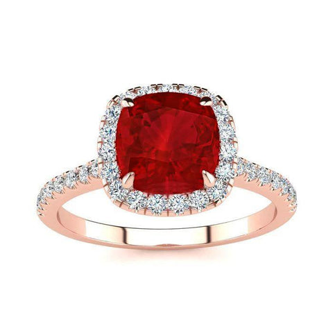 5.35 Ct Cushion Cut Red Ruby And Diamond Wedding Ring Gold Jewelry Gemstone Ring