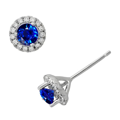 3.50 Ct Ceylon Sapphire Women Studs Earring Jewelry White Gold 14K