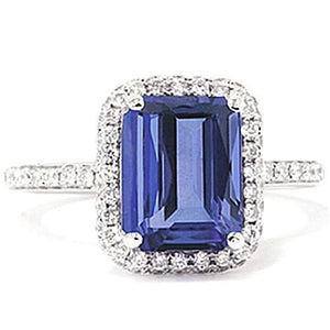 5.49 Ct Emerald Cut Tanzanite Diamond Solitaire Ring With Accent Gemstone Ring