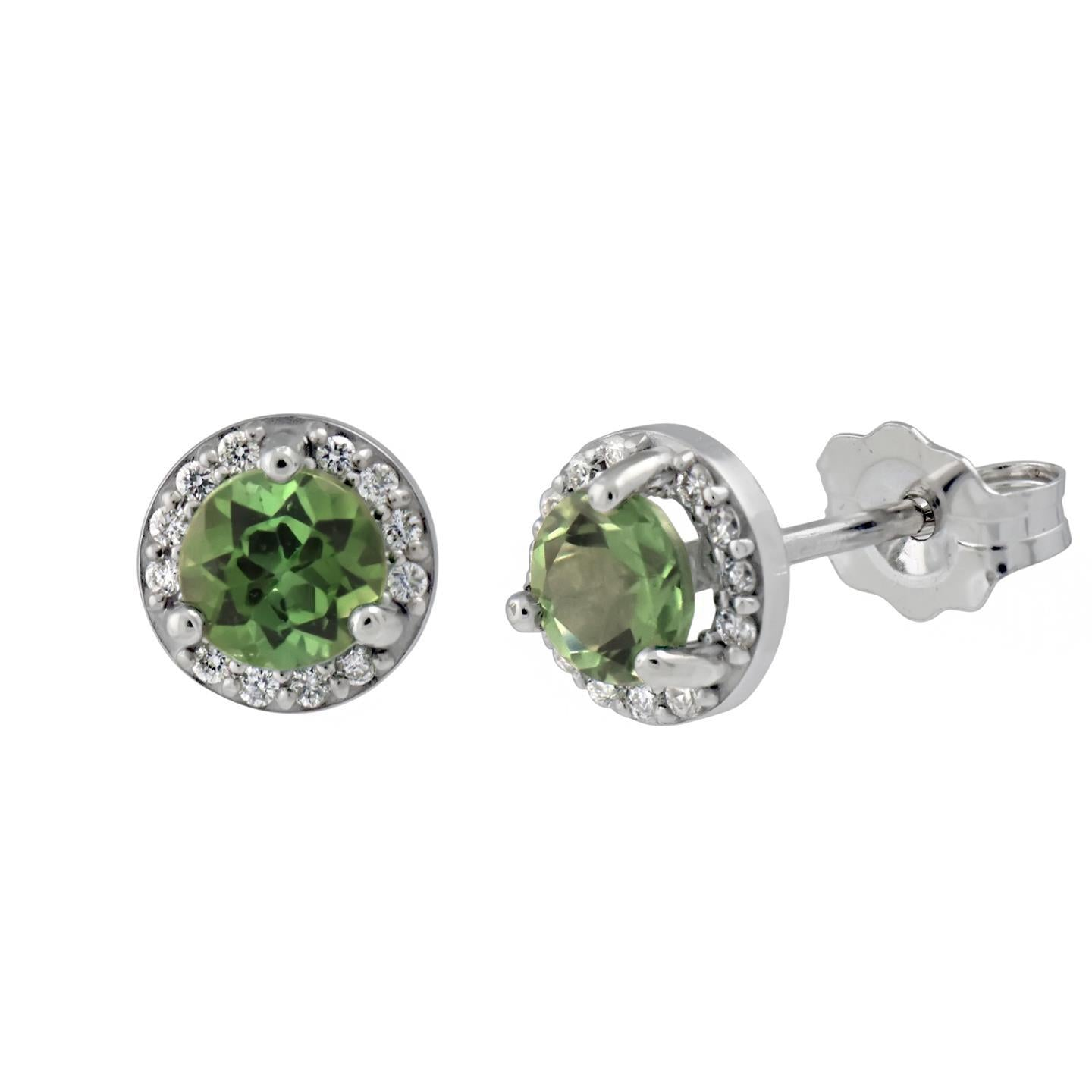 5.5 Ct Round Green Tourmaline Halo Diamond Stud Earring 14K White Gold Gemstone Earring